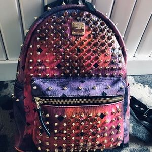 MCM crystal and cyber studded back pack